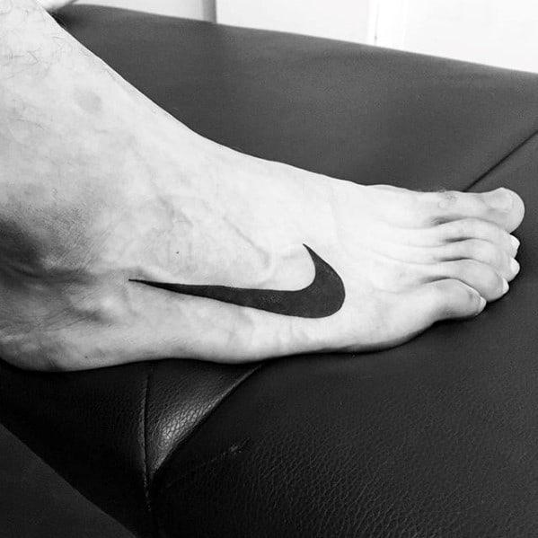 Mens Solid Black Ink Nike Logo Foot Tattoo