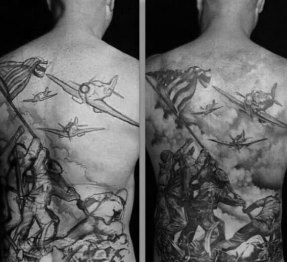 Mens Soliders Raising Falg Ww2 Full Back Tattoos