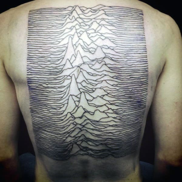 Mens Sound Waves Mountain Design Spine Back Tattoos