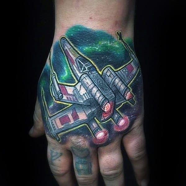 Mens Space Craft Unique Hand Tattoos