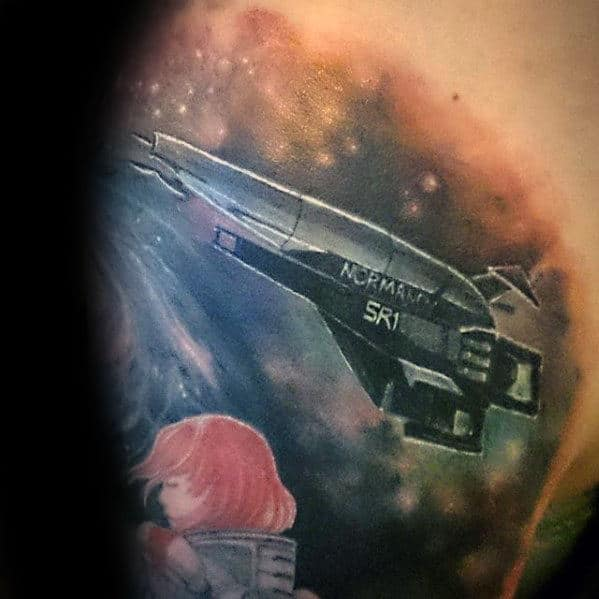 Mens Spaceship Sri Outer Space Shoulder Tattoo