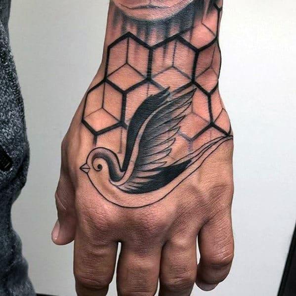 Mens Sparrow Bird Geometric Traditional Hand Tattoo