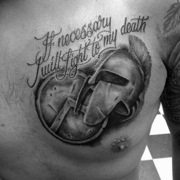 Mens Spartan Sheild Quote Chest Tattoo