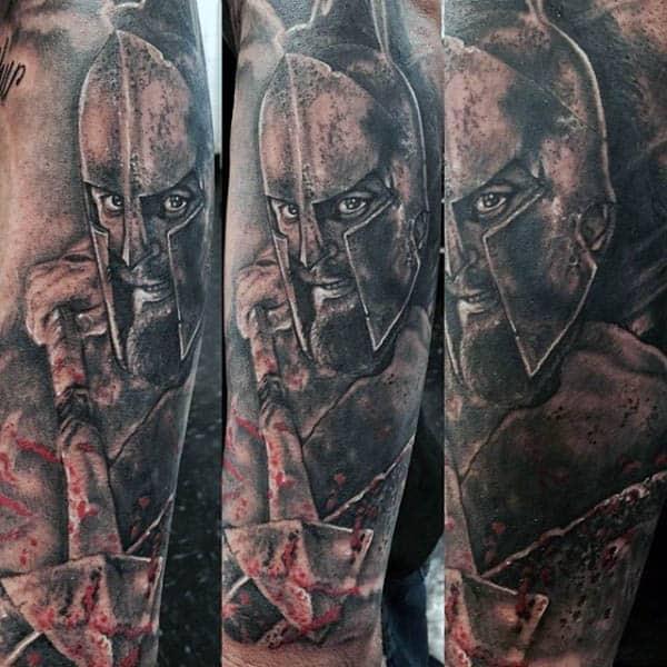 Mens Spartan Sleeve Spear Tattoos