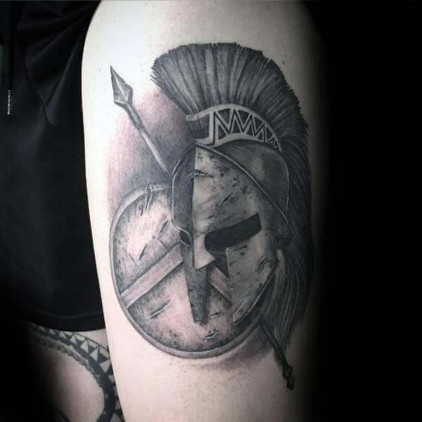 Mens Spartan Spear Thigh Tattoo Designs