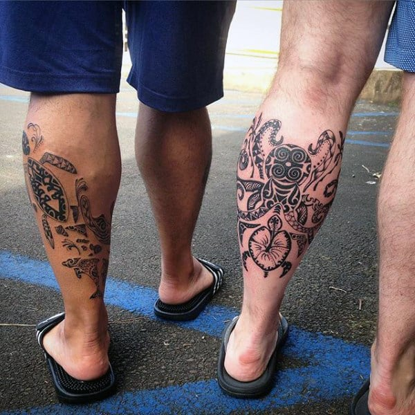 Mens Spider And Turtle Tribal Leg Tattoo
