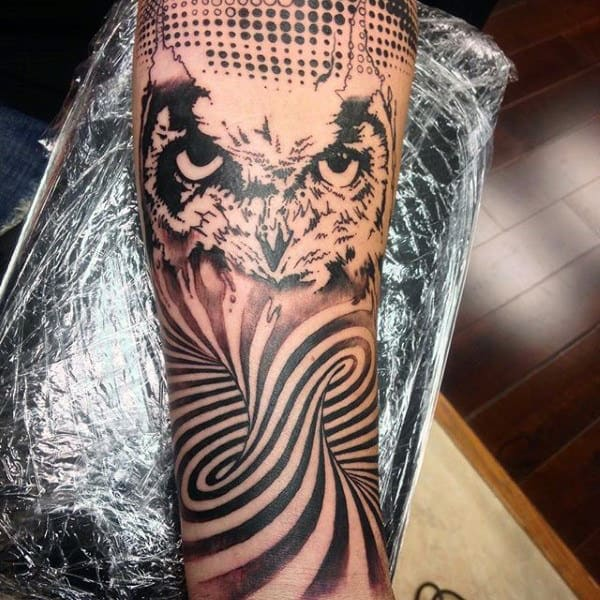 Mens Spiral Curved Optical Illusion Forearm Tattoo With Owl