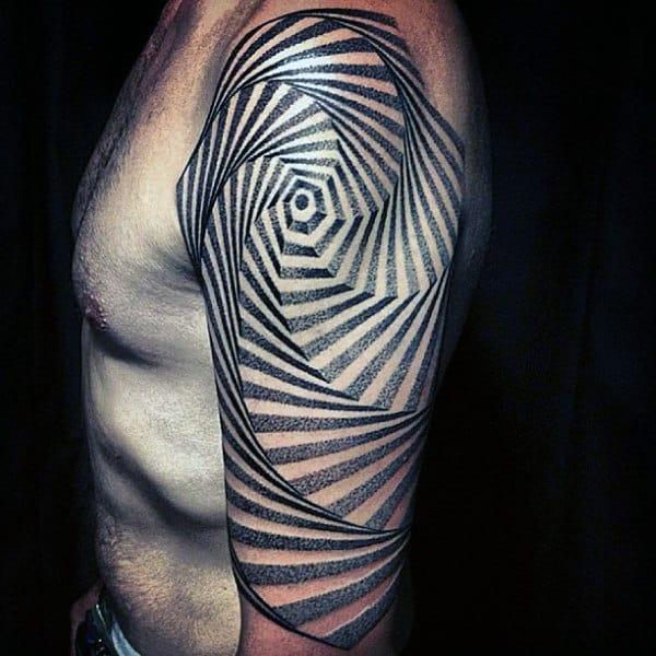 Mens Spiral Half Sleeve Geometric Unique Tattoo Ideas