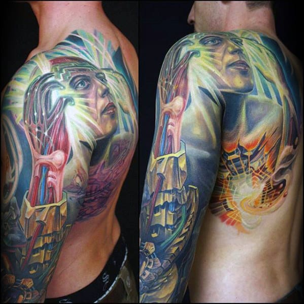 Mens Spiritual 3d Colorful Full Arm Sleeve Tattoo Design Ideas