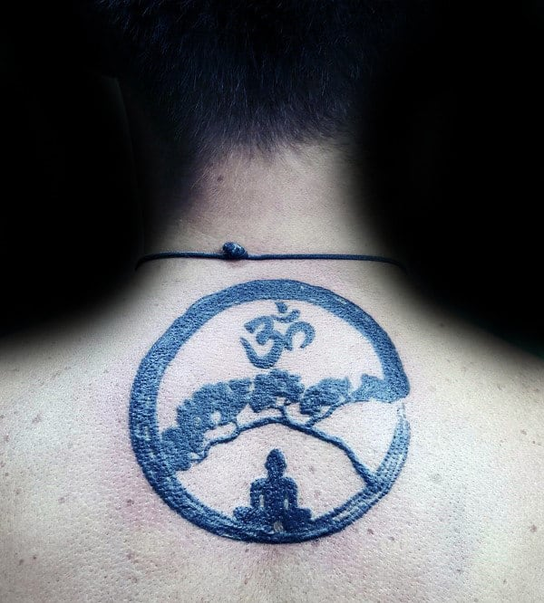 Mens Spiritual Om Upper Back Circle Tattoos