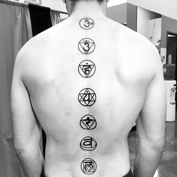 Mens Spiritual Spine Tattoo Symbols