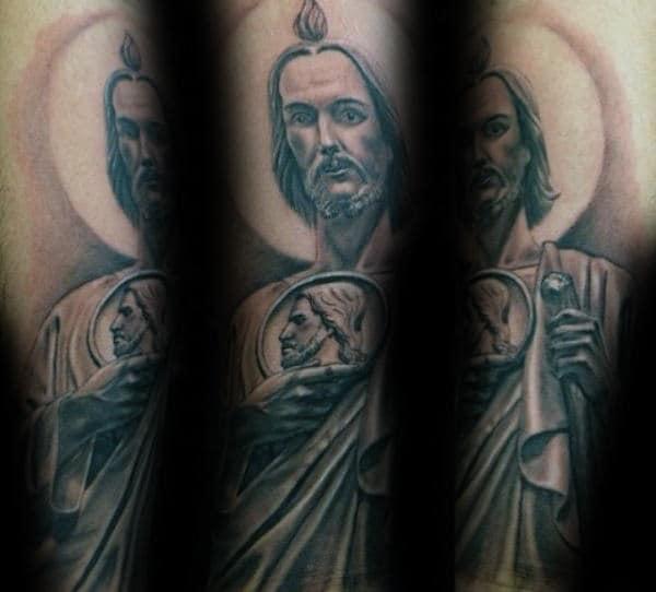 Mens Spiritual St Jude Forearm Tattoo
