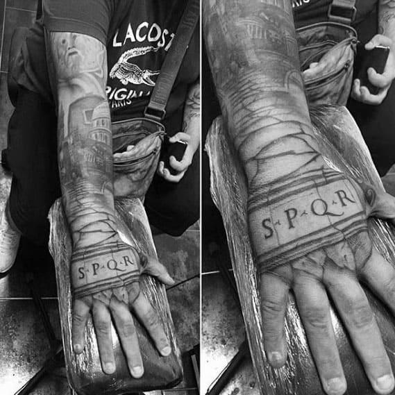 Mens Spqr Stone Hand And Forearm Tattoo Designs