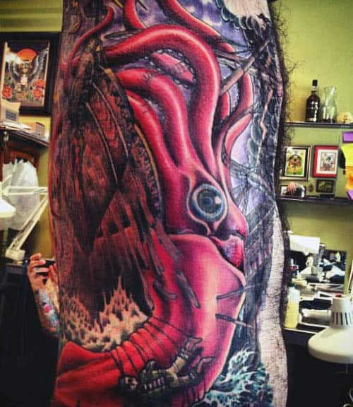 Mens Squid Tattoo Designs On Rib Cage Side