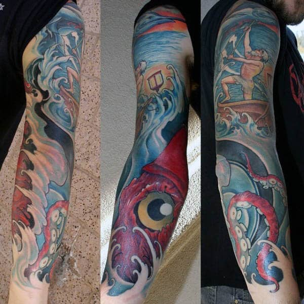 Mens Squid Tattoos Full Sleeve Design With Fisherman
