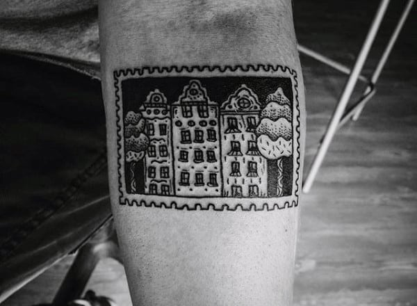 Mens Stamp With Buildings Travel Tattoo Design Ideas