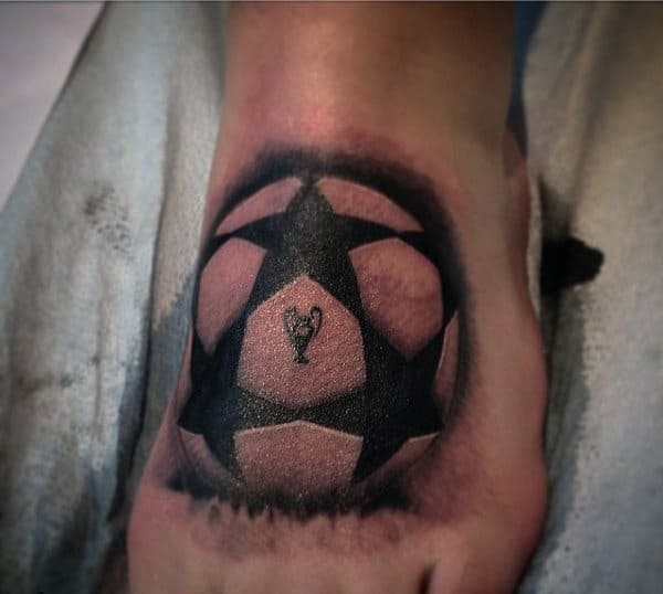 Mens Star Soccer Foot Tattoos