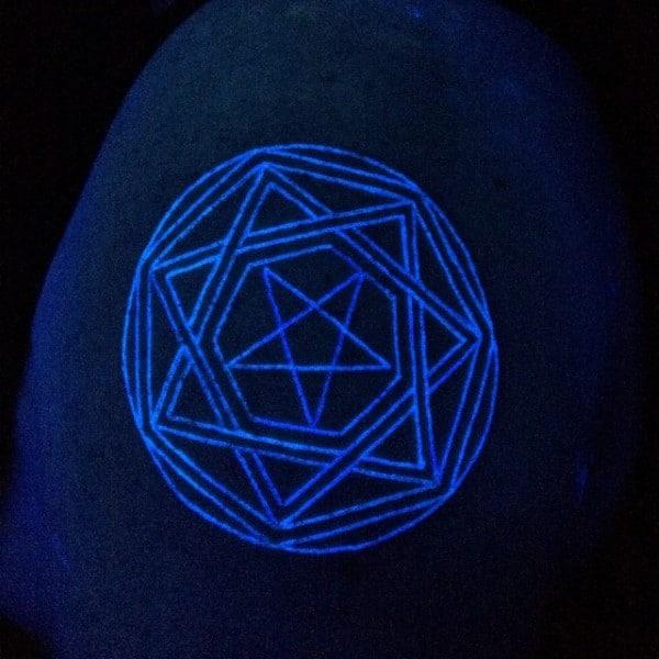 Mens Star Upper Shoulder Glow In The Dark Tattoo