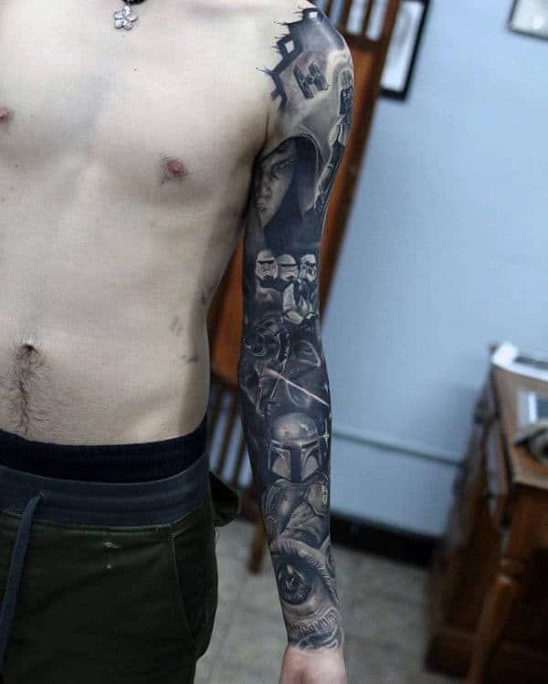 Mens Star Wars Detailed Full Sleeve Tattoo Ideas