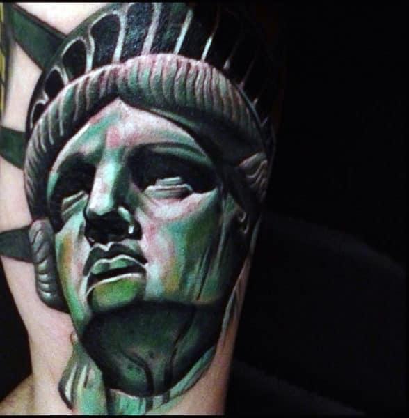 Mens Statue Of Liberty Tattoo Green Shading