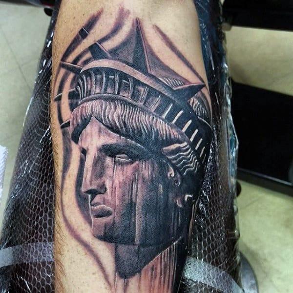 Mens Statue Of Liberty Tattoos Leg Calf