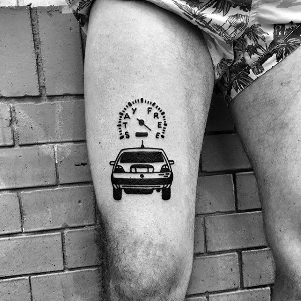 Mens Stay Free Speedometer Car Simple Leg Tattoo