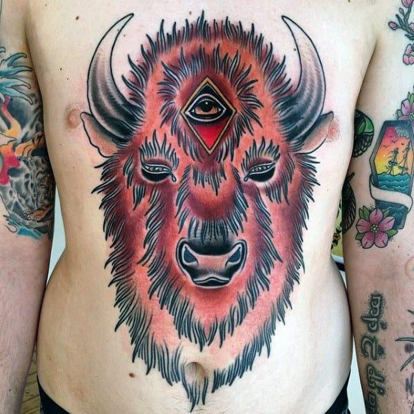 Mens Stomach Bison Old School Tattoo Designs