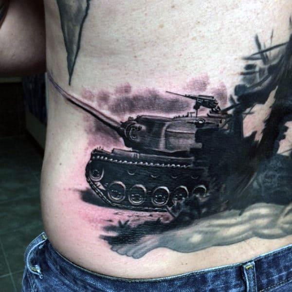 Mens Stomach Black Ink Military Tank Tattoos