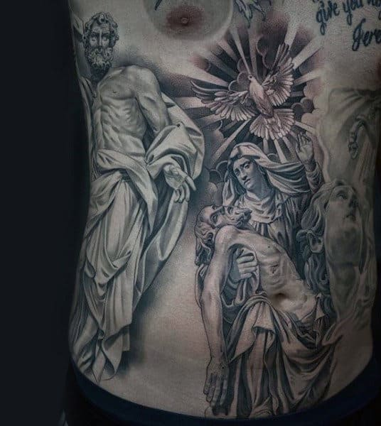 Mens Stomach Jesus Tattoo Design Inspiration