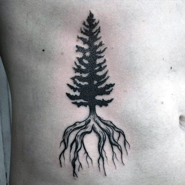 Mens Stomach Pine Tree Roots Tattoo
