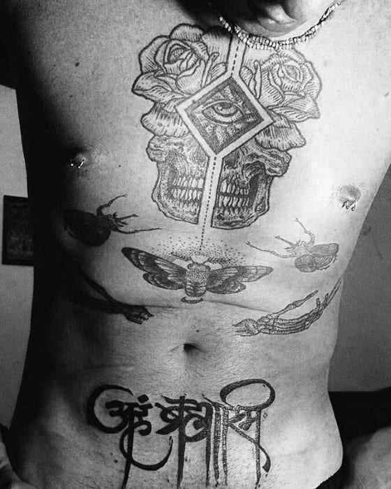 Mens Stomach Tattoo Sanskrit Design