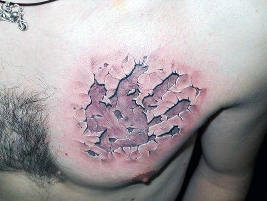 Mens Stone 3d Handprint Chest Tattoos