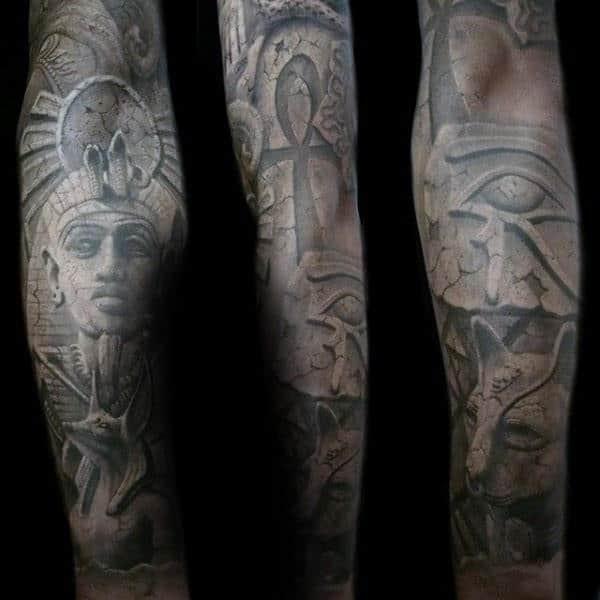 Mens Stone 3d King Tut Egypt Themed Full Sleeve Tattoos