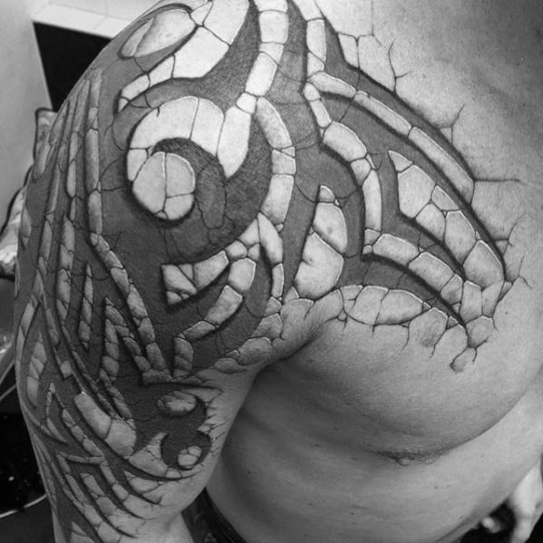 Mens Stone 3d Sick Tribal Arm And Chest Tattoo
