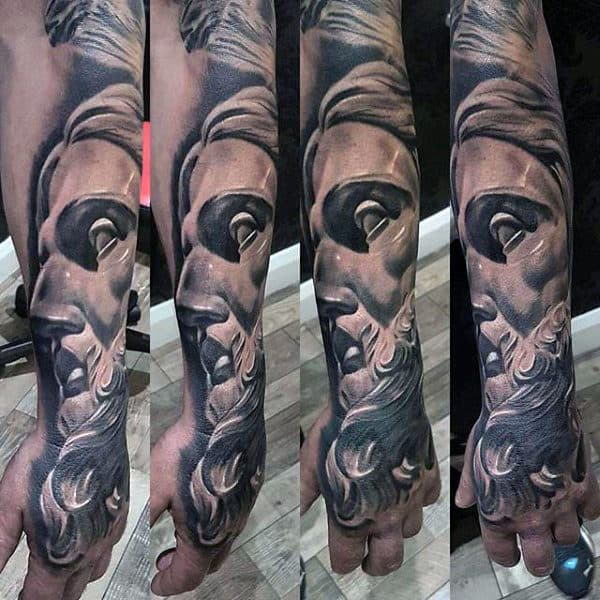 Mens Stone 3d Unique Greek Mythology Sleeve Tattoo