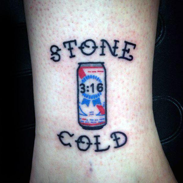 Mens Stone Cold 3 16 Beer Lower Leg Wrestling Tattoo Ideas