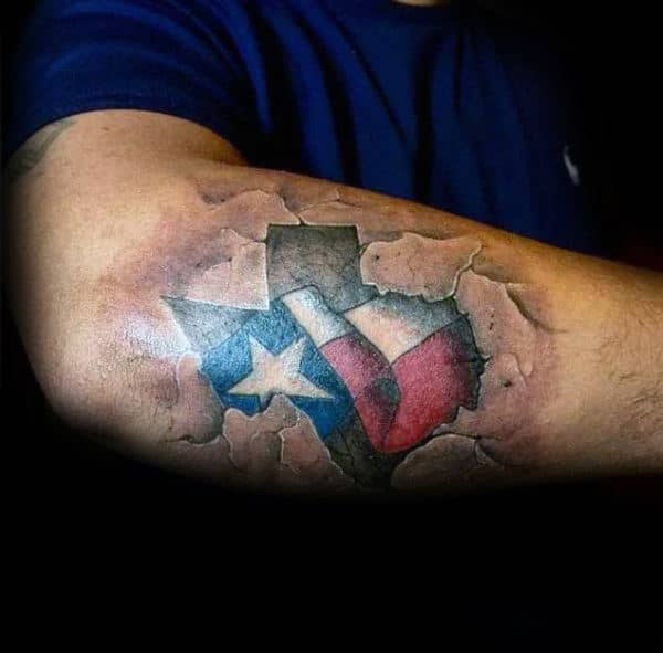 Mens Stone Outer Forearm Texas Flag Tattoo Designs