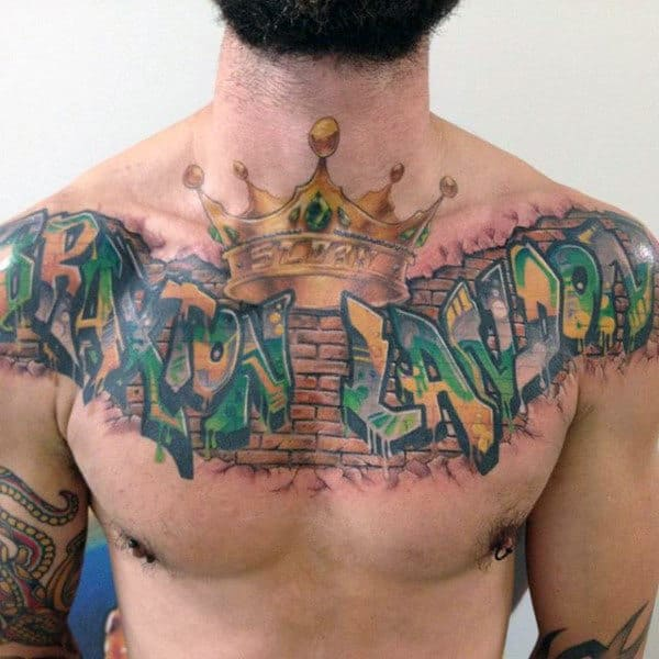80 graffiti tattoos for men inked street art designs for Crown chest tattoo