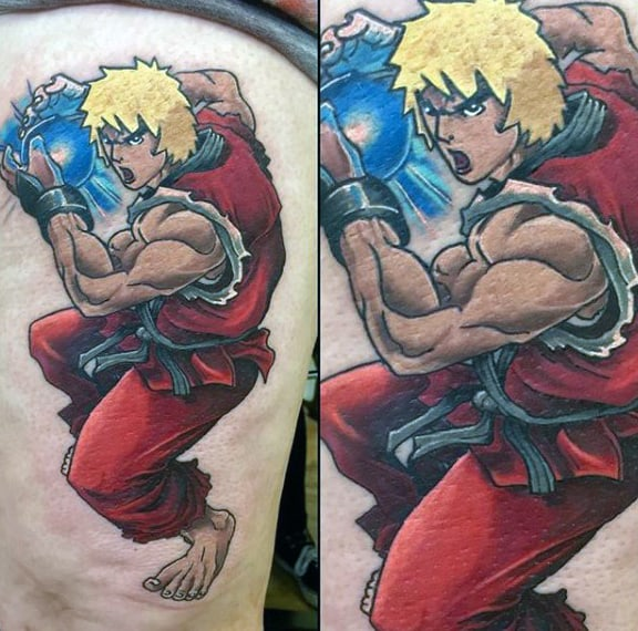 Mens Street Fighter Thigh Tattoos