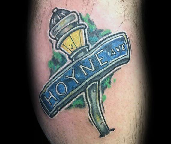 Mens Street Sign Tattoo Designs