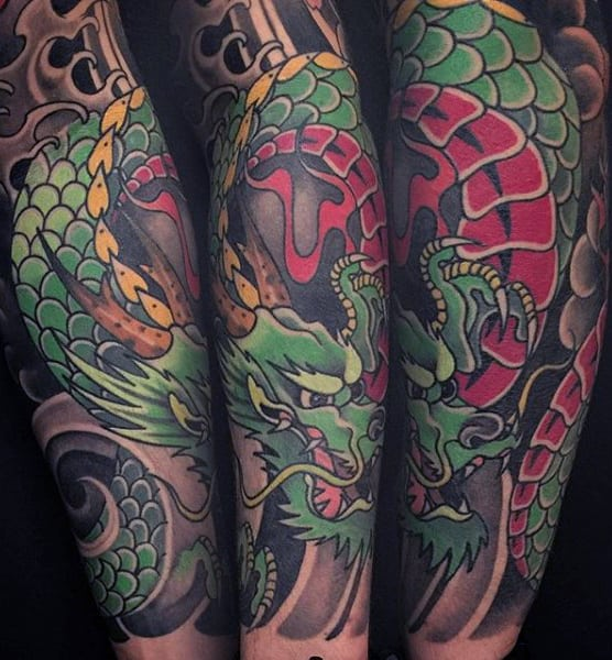 Mens Stunning Japanese Sleeve Tattoo