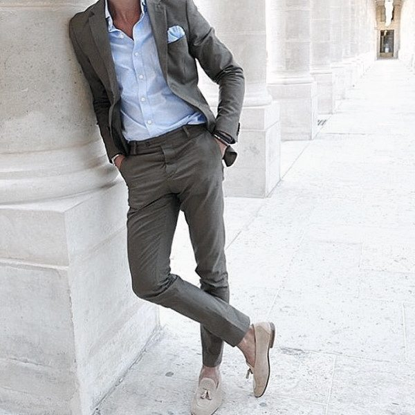 Mens Style Ideas Grey Suits With Light Blue Dress Shirt And Pocket Square