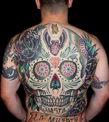 Mens Sugar Skull Full Back Tattoo Design Ideas