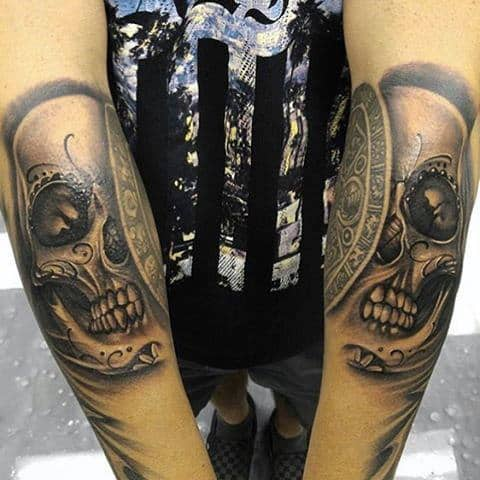 Mens Sugar Skull Tattoos On Inner Forearms With 3d Design