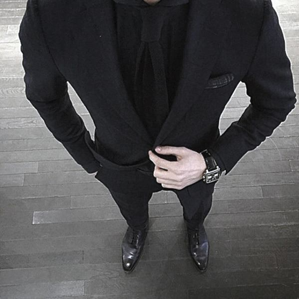 Mens Suit And Tie Professional Formal All Black Outfits
