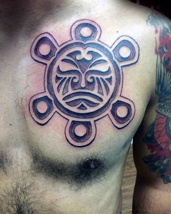 Mens Sun Dotwork Taino Chest Tattoos