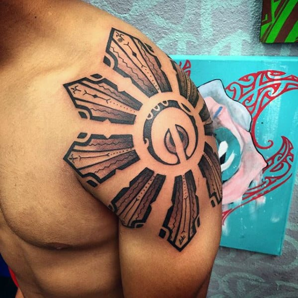 Mens Sun Shoulder Cap Sick Tribal Tattoos