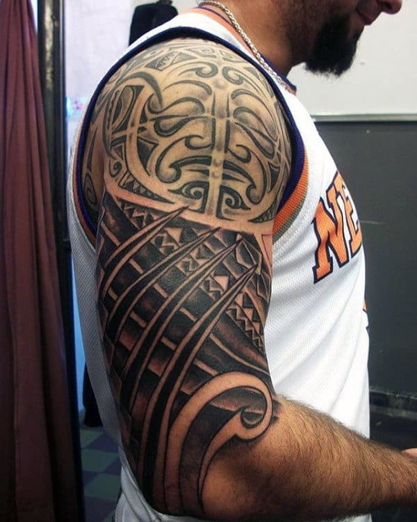 Mens Sun Tribal Tattoo Half Sleeve