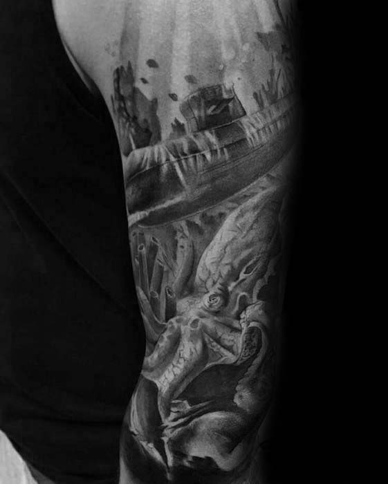 Mens Sunken Ship At Bottom Of Ocean Sleeve Tattoo