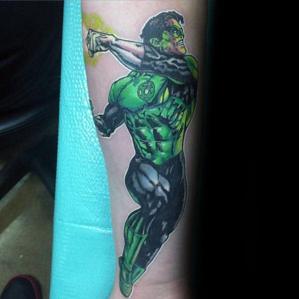 Mens Superhero Dc Comics Green Lantern Tattoo On Inner Forearm